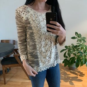 Knit and lace Anthropologie sweater